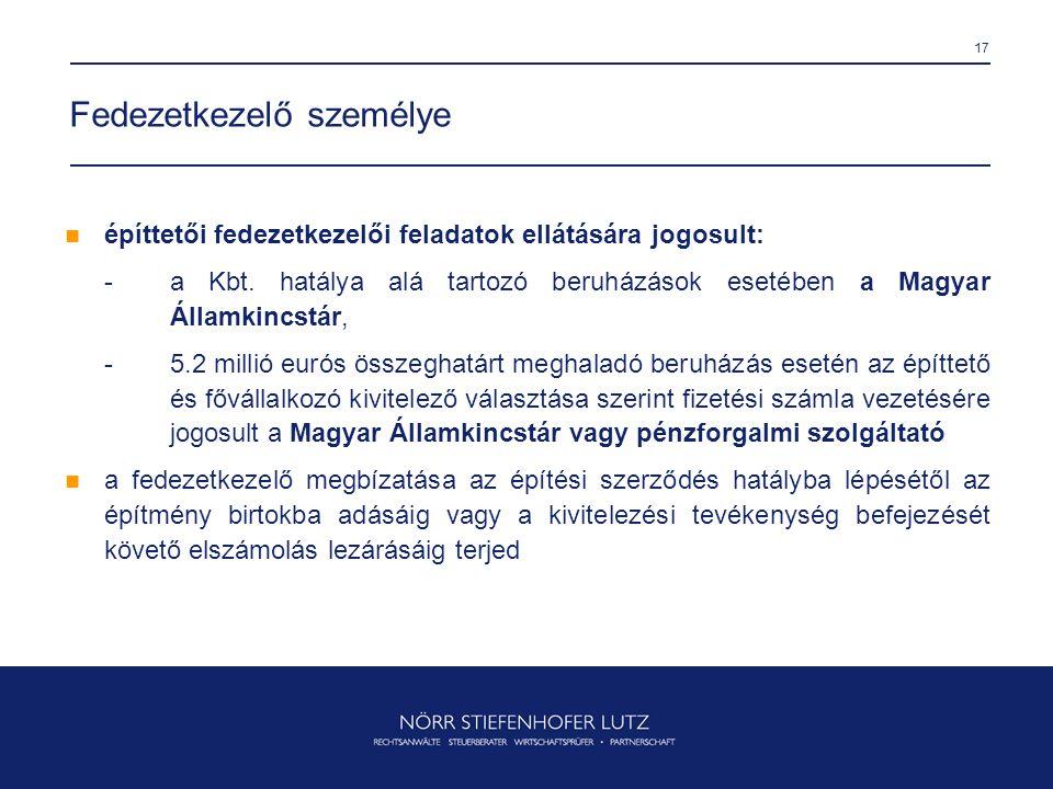 17 Fedezetkezelő személye  építtetői fedezetkezelői feladatok ellátására jogosult: -a Kbt. hatálya alá tartozó beruházások esetében a Magyar Államkin