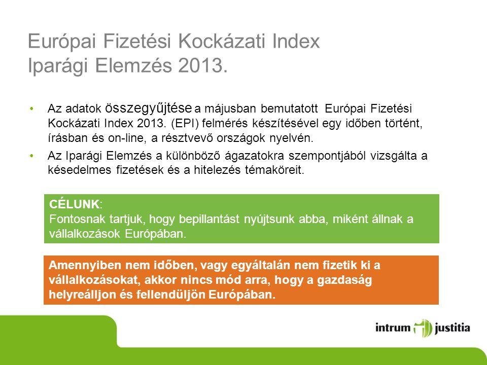 Európai Fizetési Kockázati Index Iparági Elemzés 2013. •Az adatok összegyűjtése a májusban bemutatott Európai Fizetési Kockázati Index 2013. (EPI) fel
