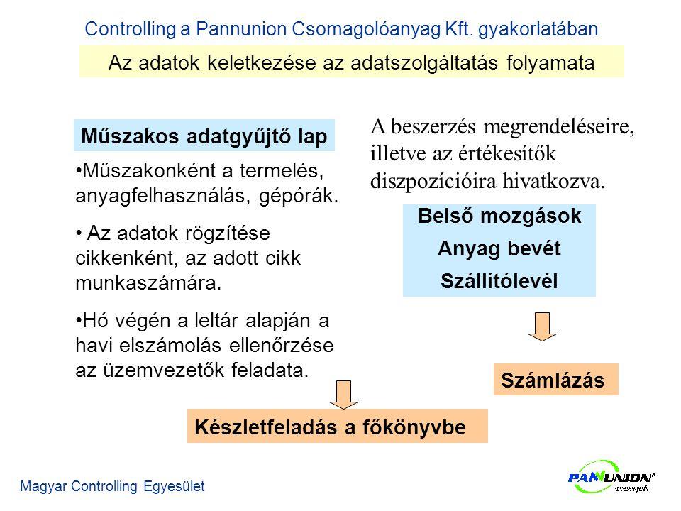 Controlling a Pannunion Csomagolóanyag Kft.