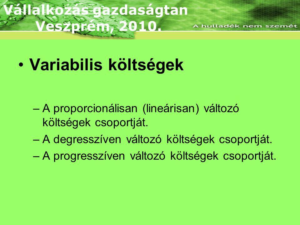 •Variabilis költségek –A proporcionálisan (lineárisan) változó költségek csoportját. –A degresszíven változó költségek csoportját. –A progresszíven vá