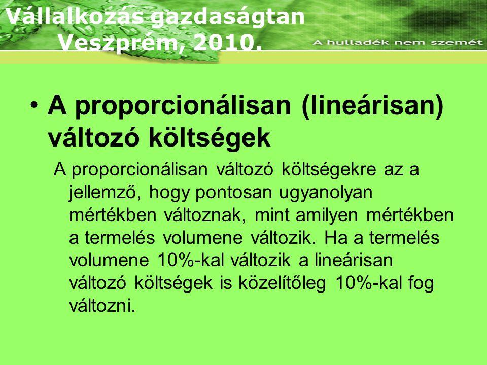 •A proporcionálisan (lineárisan) változó költségek A proporcionálisan változó költségekre az a jellemző, hogy pontosan ugyanolyan mértékben változnak, mint amilyen mértékben a termelés volumene változik.