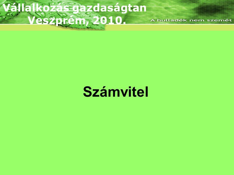 Lineáris árbevételi és összköltség függvény Számvitel Vállalkozás gazdaságtan Veszprém, 2010.