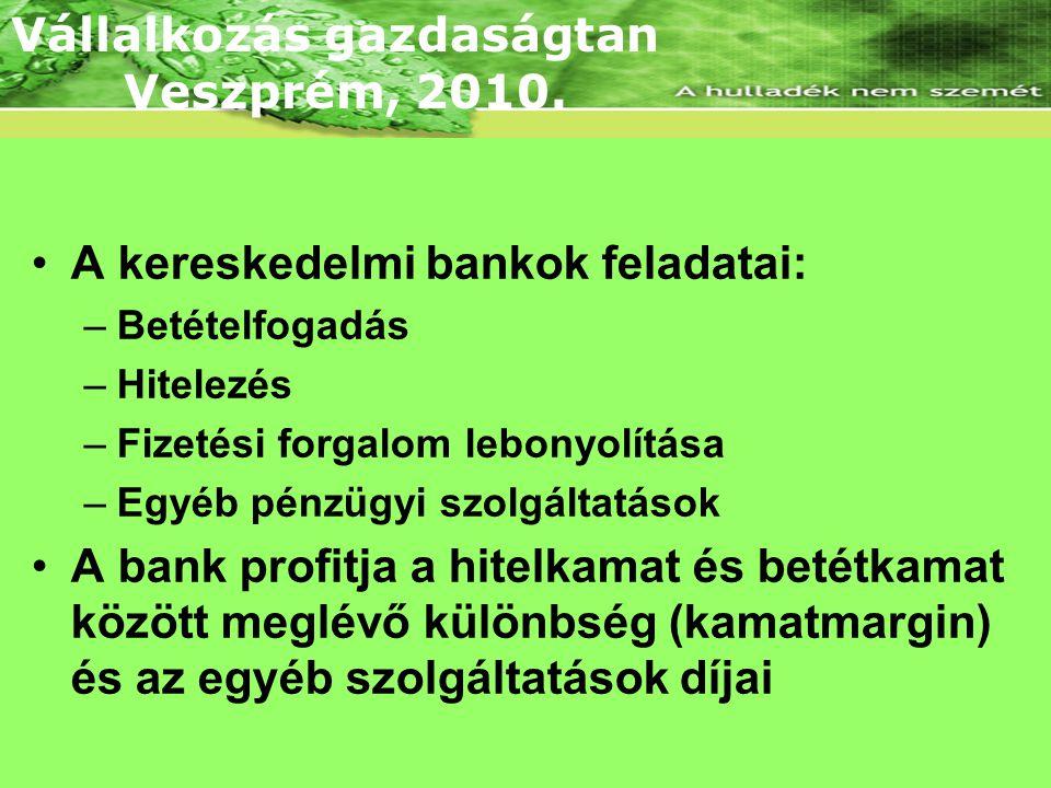 Lineáris árbevételi és összköltség függvény •A kereskedelmi bankok feladatai: –Betételfogadás –Hitelezés –Fizetési forgalom lebonyolítása –Egyéb pénzügyi szolgáltatások •A bank profitja a hitelkamat és betétkamat között meglévő különbség (kamatmargin) és az egyéb szolgáltatások díjai Vállalkozás gazdaságtan Veszprém, 2010.