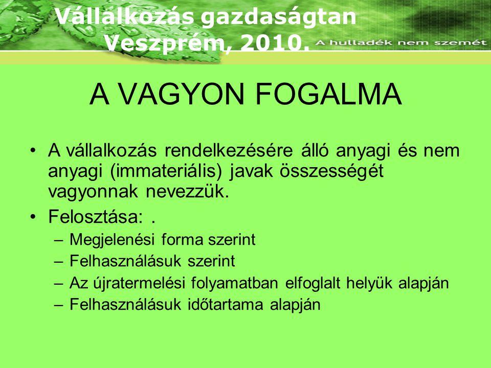 A VAGYON FOGALMA •A vállalkozás rendelkezésére álló anyagi és nem anyagi (immateriális) javak összességét vagyonnak nevezzük.