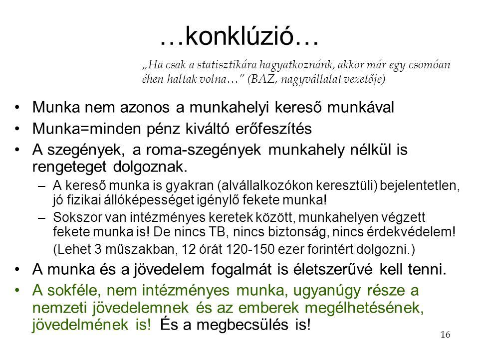 16 …konklúzió… •Munka nem azonos a munkahelyi kereső munkával •Munka=minden pénz kiváltó erőfeszítés •A szegények, a roma-szegények munkahely nélkül is rengeteget dolgoznak.