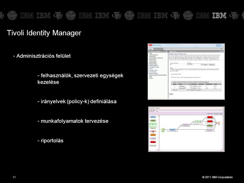 © 2011 IBM Corporation11 - Adminisztrációs felület - felhasználók, szervezeti egységek kezelése - irányelvek (policy-k) definiálása - munkafolyamatok tervezése - riportolás Tivoli Identity Manager