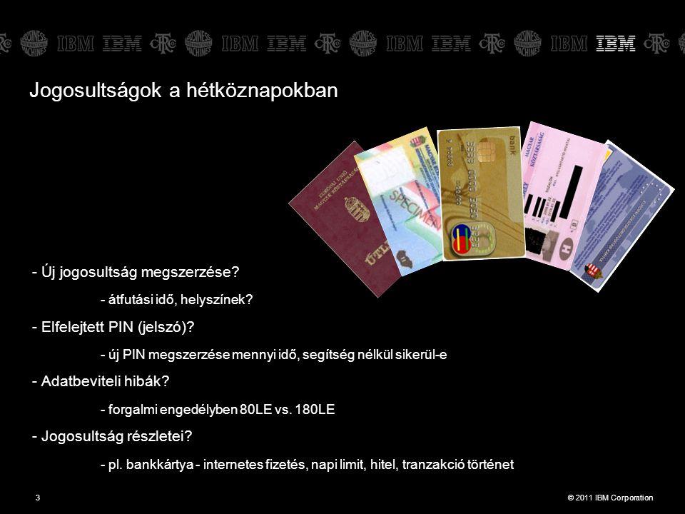 © 2011 IBM Corporation4 Jogosultságok csoportosítása +++ Fentiek + (Vízum)