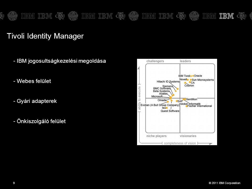© 2011 IBM Corporation9 - IBM jogosultságkezelési megoldása - Webes felület - Gyári adapterek - Önkiszolgáló felület Tivoli Identity Manager