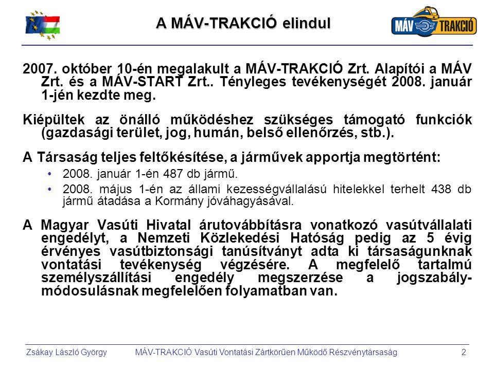 Zsákay László György MÁV-TRAKCIÓ Vasúti Vontatási Zártkörűen Működő Részvénytársaság2 A MÁV-TRAKCIÓ elindul 2007.