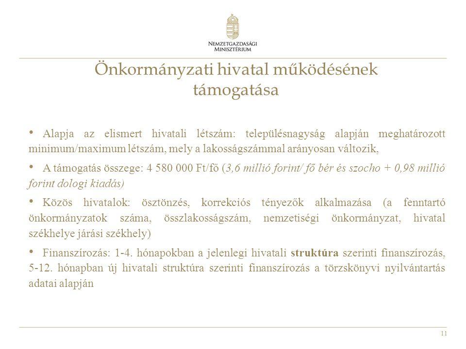 11 Önkormányzati hivatal működésének támogatása • Alapja az elismert hivatali létszám: településnagyság alapján meghatározott minimum/maximum létszám,