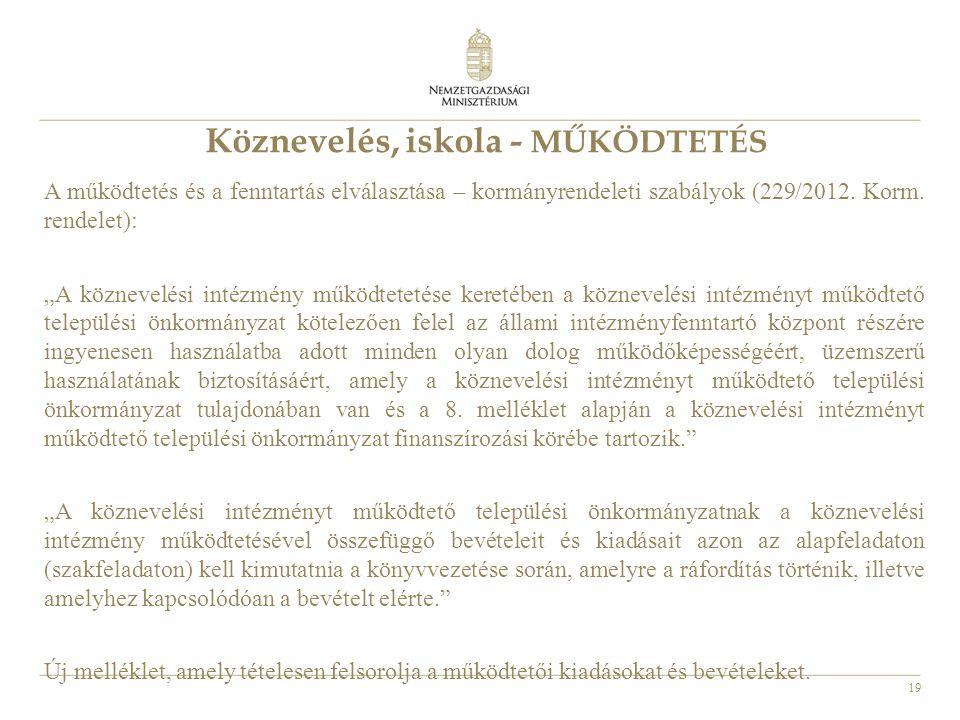 """19 Köznevelés, iskola - MŰKÖDTETÉS A működtetés és a fenntartás elválasztása – kormányrendeleti szabályok (229/2012. Korm. rendelet): """"A köznevelési i"""