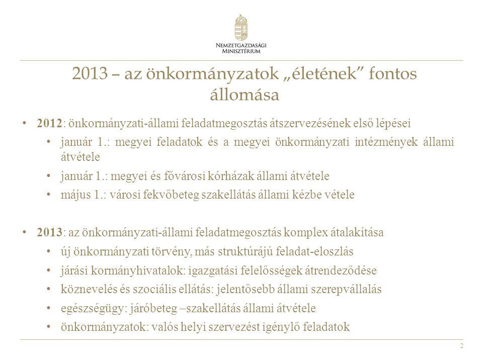 """2 2013 – az önkormányzatok """"életének"""" fontos állomása • 2012: önkormányzati-állami feladatmegosztás átszervezésének első lépései • január 1.: megyei f"""
