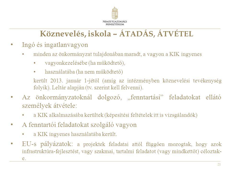 21 Köznevelés, iskola – ÁTADÁS, ÁTVÉTEL • Ingó és ingatlanvagyon • minden az önkormányzat tulajdonában maradt, a vagyon a KIK ingyenes • vagyonkezelésébe (ha működtető), • használatába (ha nem működtető) került 2013.