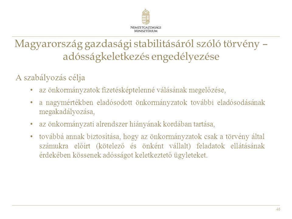 46 Magyarország gazdasági stabilitásáról szóló törvény – adósságkeletkezés engedélyezése A szabályozás célja • az önkormányzatok fizetésképtelenné válásának megelőzése, • a nagymértékben eladósodott önkormányzatok további eladósodásának megakadályozása, • az önkormányzati alrendszer hiányának kordában tartása, • továbbá annak biztosítása, hogy az önkormányzatok csak a törvény által számukra előírt (kötelező és önként vállalt) feladatok ellátásának érdekében kössenek adósságot keletkeztető ügyleteket.