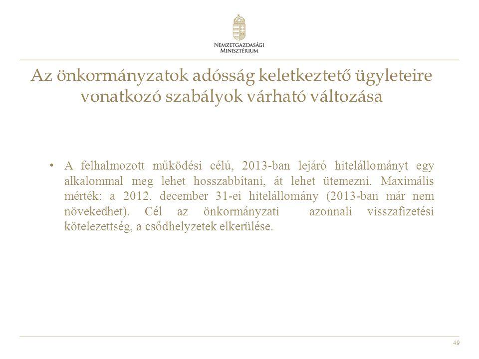 49 Az önkormányzatok adósság keletkeztető ügyleteire vonatkozó szabályok várható változása • A felhalmozott működési célú, 2013-ban lejáró hitelállomá