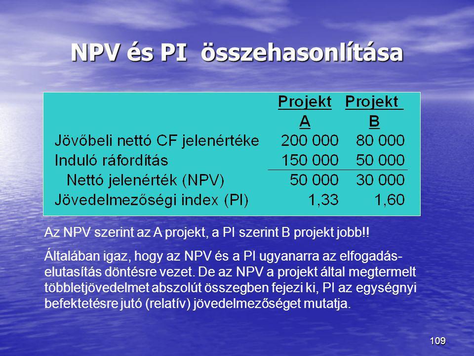 109 NPV és PI összehasonlítása Az NPV szerint az A projekt, a PI szerint B projekt jobb!! Általában igaz, hogy az NPV és a PI ugyanarra az elfogadás-