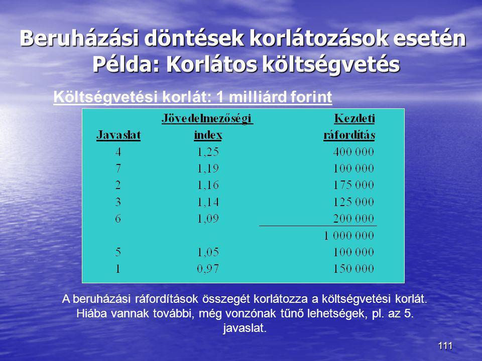 111 Beruházási döntések korlátozások esetén Példa: Korlátos költségvetés Költségvetési korlát: 1 milliárd forint A beruházási ráfordítások összegét ko