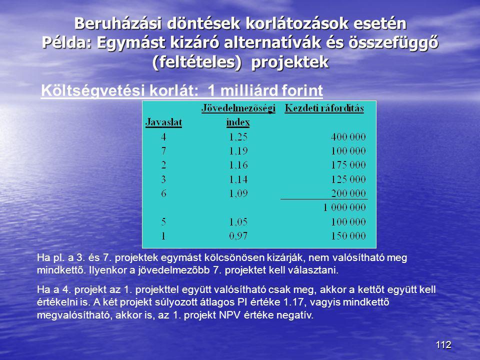 112 Beruházási döntések korlátozások esetén Példa: Egymást kizáró alternatívák és összefüggő (feltételes) projektek Költségvetési korlát: 1 milliárd f