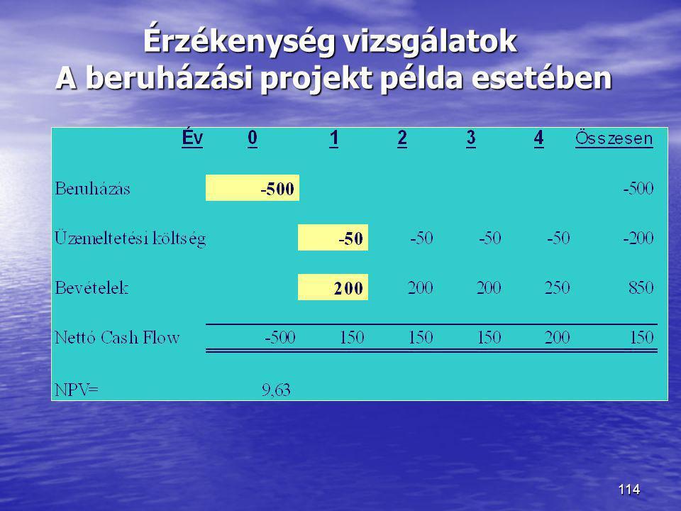 114 Érzékenység vizsgálatok A beruházási projekt példa esetében