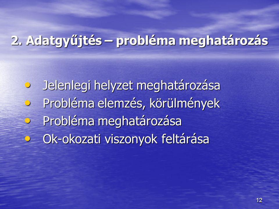 12 2. Adatgyűjtés – probléma meghatározás • Jelenlegi helyzet meghatározása • Probléma elemzés, körülmények • Probléma meghatározása • Ok-okozati visz