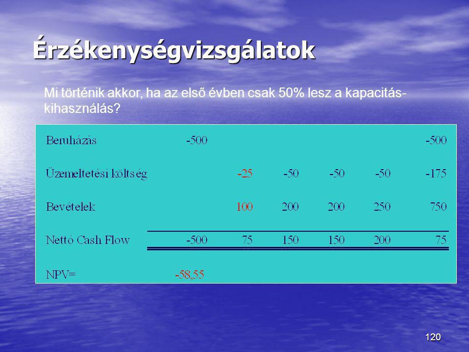120 Érzékenységvizsgálatok Mi történik akkor, ha az első évben csak 50% lesz a kapacitás- kihasználás?