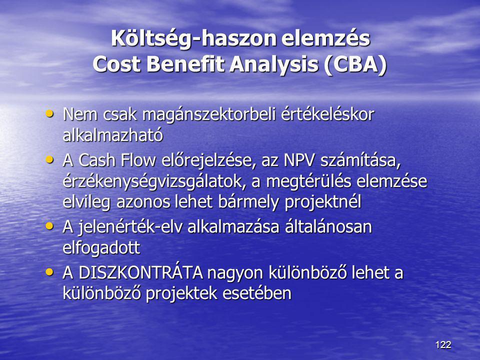 122 Költség-haszon elemzés Cost Benefit Analysis (CBA) • Nem csak magánszektorbeli értékeléskor alkalmazható • A Cash Flow előrejelzése, az NPV számít