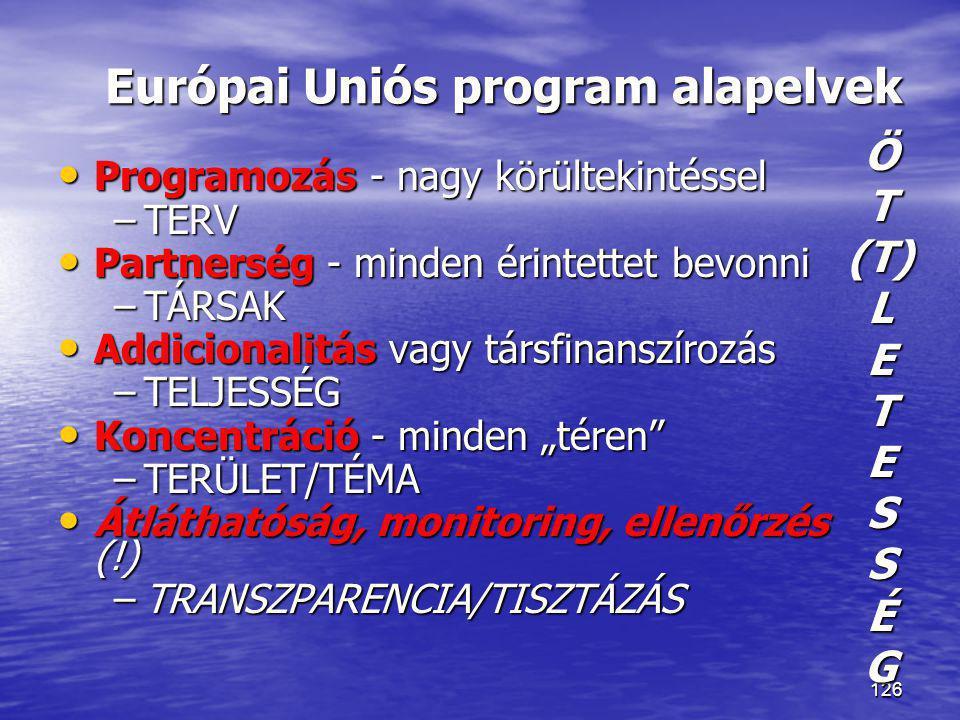 126 Európai Uniós program alapelvek • Programozás - nagy körültekintéssel –TERV • Partnerség - minden érintettet bevonni –TÁRSAK • Addicionalitás vagy