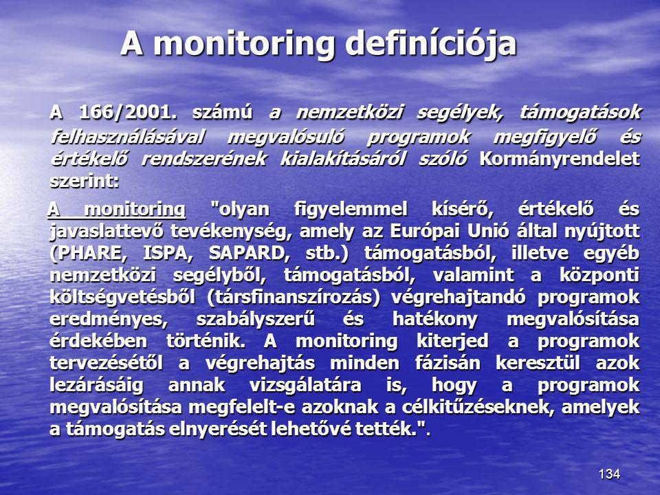 134 A monitoring definíciója A 166/2001. számú a nemzetközi segélyek, támogatások felhasználásával megvalósuló programok megfigyelő és értékelő rendsz