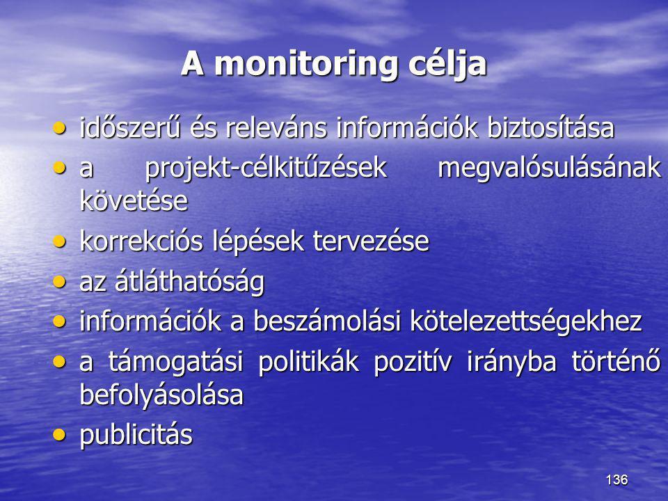 136 A monitoring célja  időszerű és releváns információk biztosítása  a projekt-célkitűzések megvalósulásának követése  korrekciós lépések tervezés
