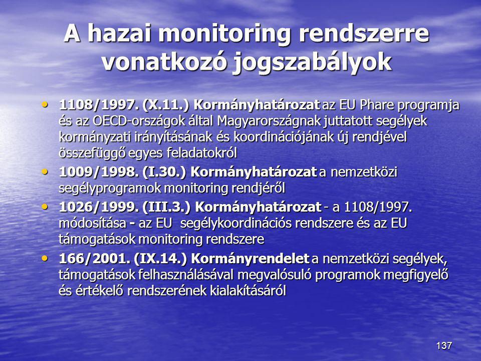 137 A hazai monitoring rendszerre vonatkozó jogszabályok • 1108/1997. (X.11.) Kormányhatározat az EU Phare programja és az OECD-országok által Magyaro