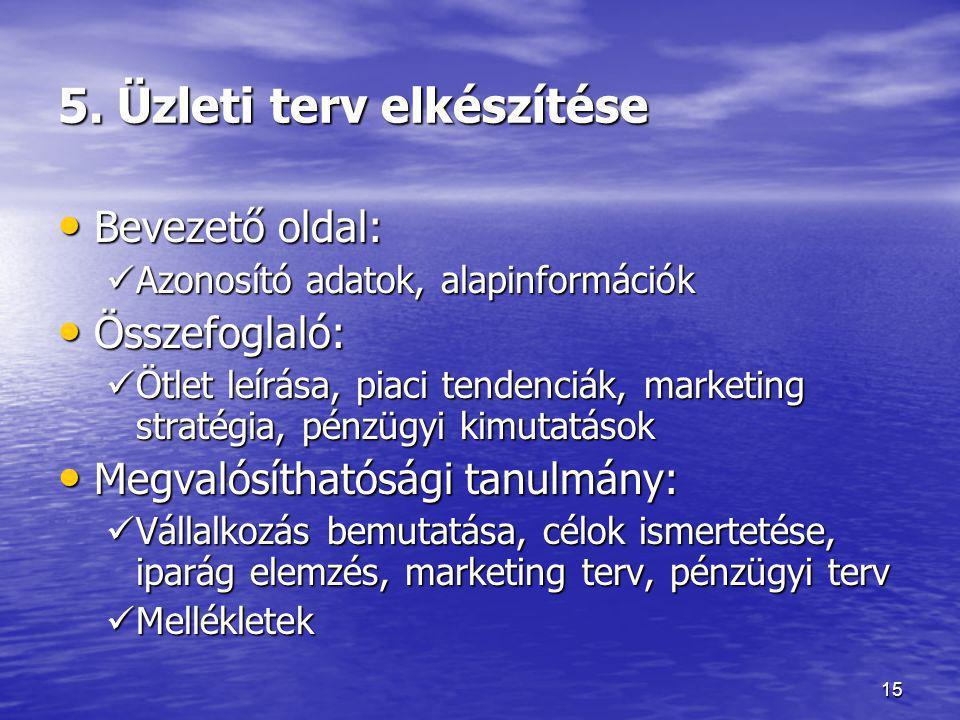 15 5. Üzleti terv elkészítése • Bevezető oldal:  Azonosító adatok, alapinformációk • Összefoglaló:  Ötlet leírása, piaci tendenciák, marketing strat