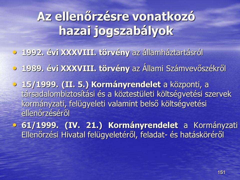 151 Az ellenőrzésre vonatkozó hazai jogszabályok • 1992. évi XXXVIII. törvény az államháztartásról • 1989. évi XXXVIII. törvény az Állami Számvevőszék