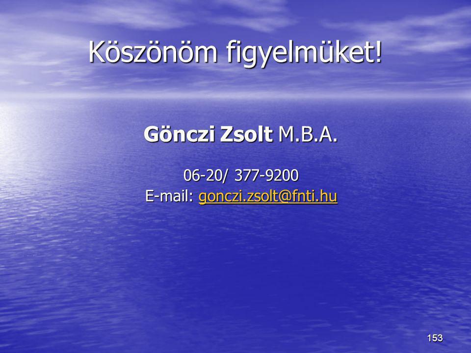 153 Köszönöm figyelmüket! Gönczi Zsolt M.B.A. 06-20/ 377-9200 E-mail: gonczi.zsolt@fnti.hu gonczi.zsolt@fnti.hu