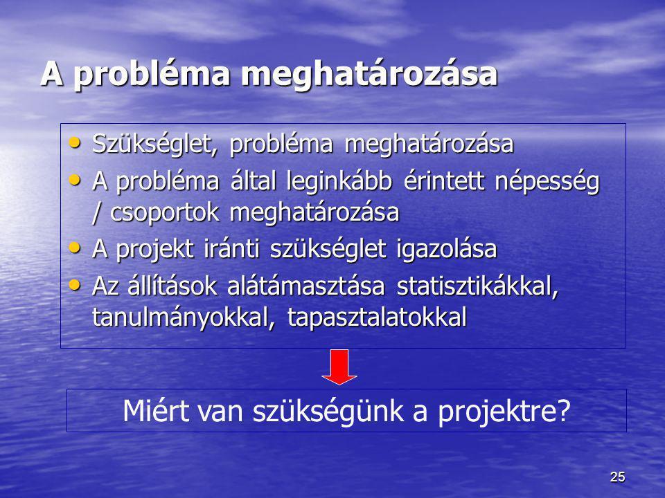 25 A probléma meghatározása • Szükséglet, probléma meghatározása • A probléma által leginkább érintett népesség / csoportok meghatározása • A projekt