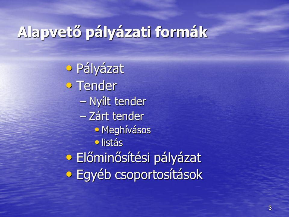 3 Alapvető pályázati formák • Pályázat • Tender –Nyílt tender –Zárt tender • Meghívásos • listás • Előminősítési pályázat • Egyéb csoportosítások