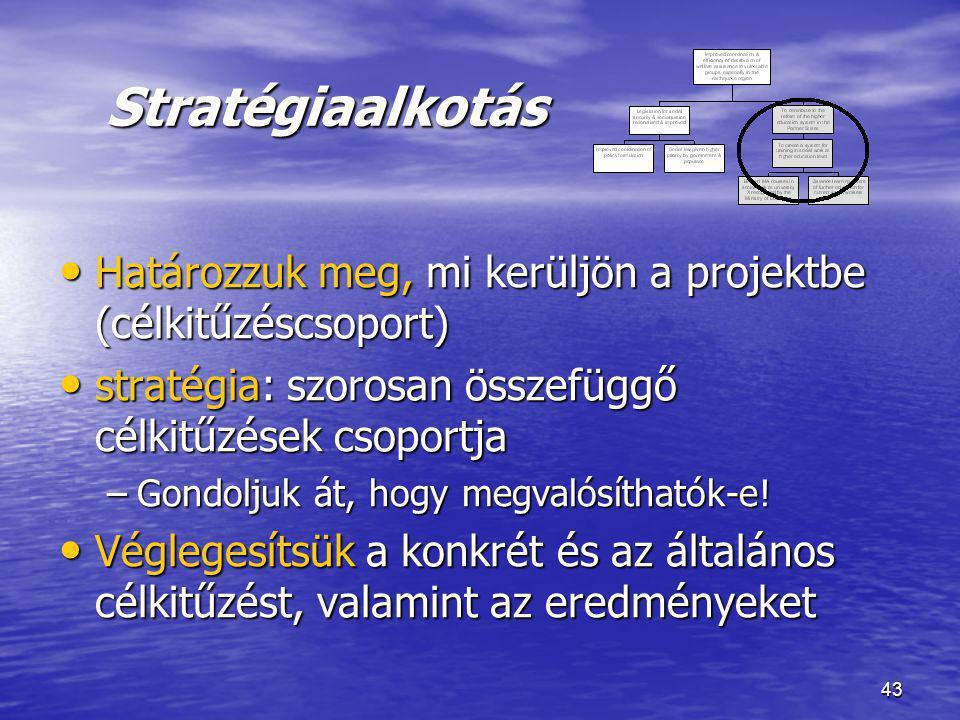 43 Stratégiaalkotás Stratégiaalkotás • Határozzuk meg, mi kerüljön a projektbe (célkitűzéscsoport) • stratégia: szorosan összefüggő célkitűzések csopo