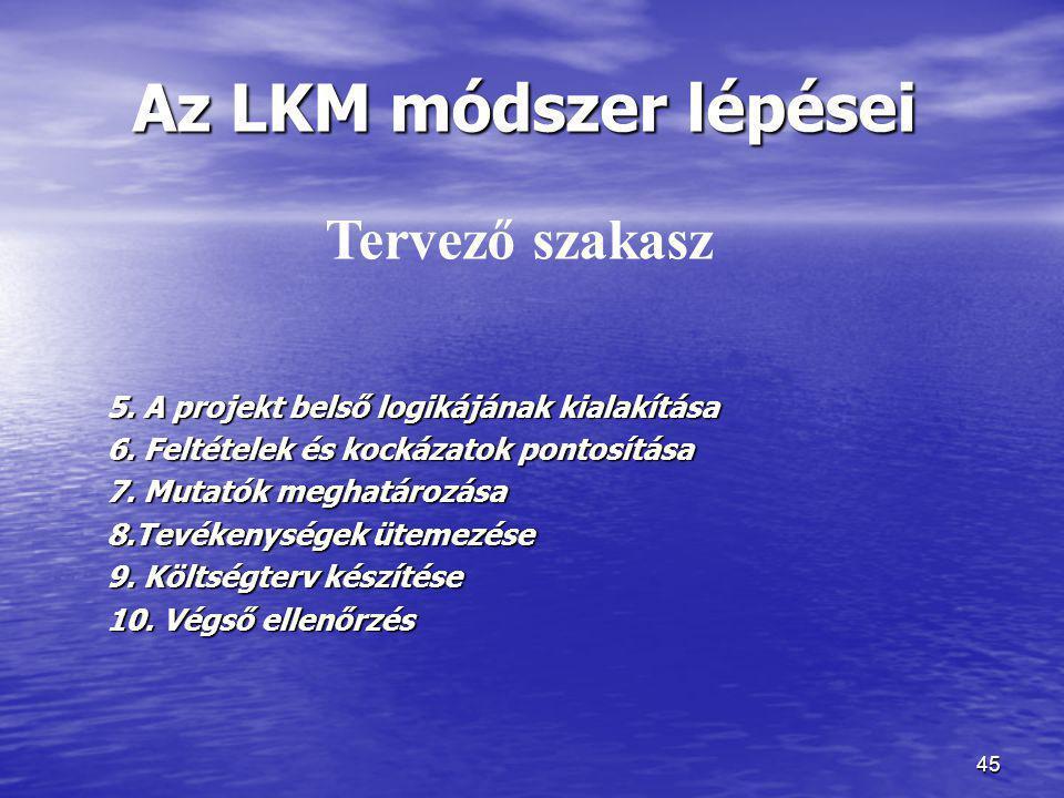 45 Az LKM módszer lépései 5. A projekt belső logikájának kialakítása 6. Feltételek és kockázatok pontosítása 7. Mutatók meghatározása 8.Tevékenységek