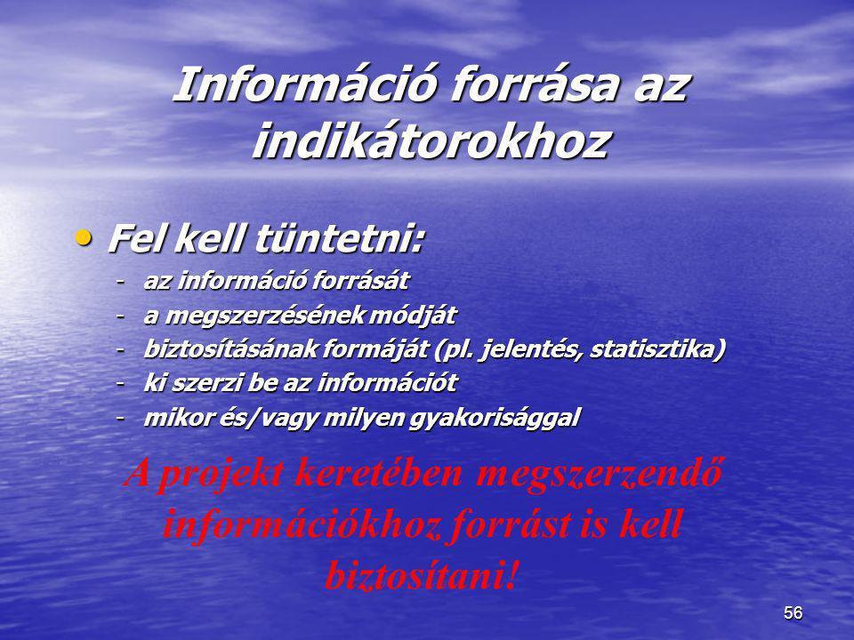 56 Információ forrása az indikátorokhoz • Fel kell tüntetni: -az információ forrását -a megszerzésének módját -biztosításának formáját (pl. jelentés,