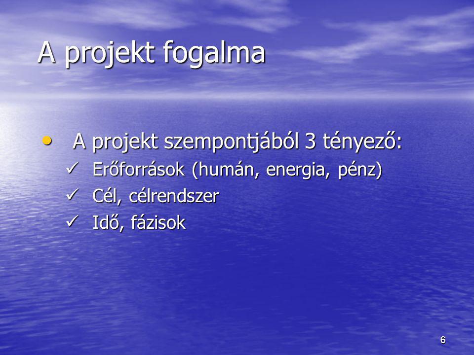 6 A projekt fogalma A projekt fogalma • A projekt szempontjából 3 tényező:  Erőforrások (humán, energia, pénz)  Cél, célrendszer  Idő, fázisok