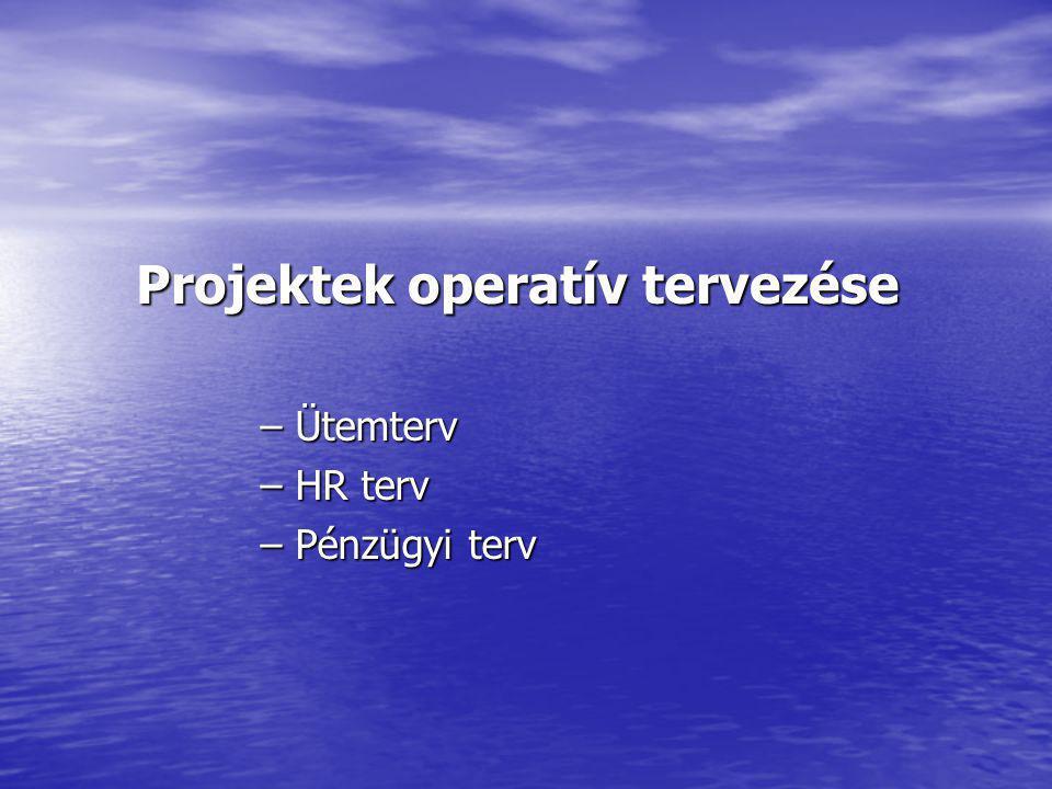 Projektek operatív tervezése – Ütemterv – HR terv – Pénzügyi terv