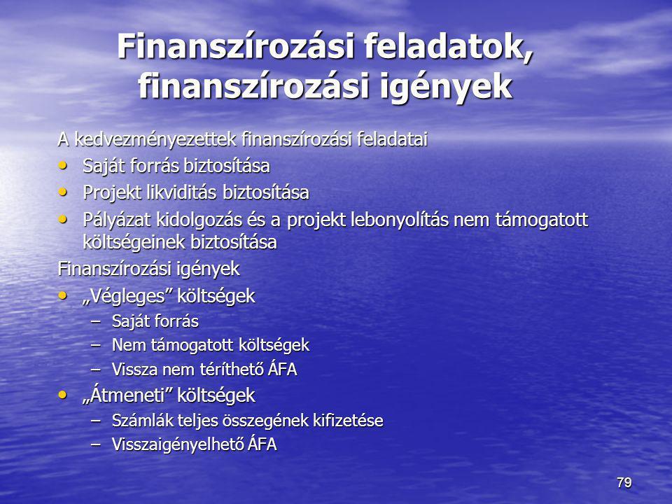 79 Finanszírozási feladatok, finanszírozási igények A kedvezményezettek finanszírozási feladatai • Saját forrás biztosítása • Projekt likviditás bizto