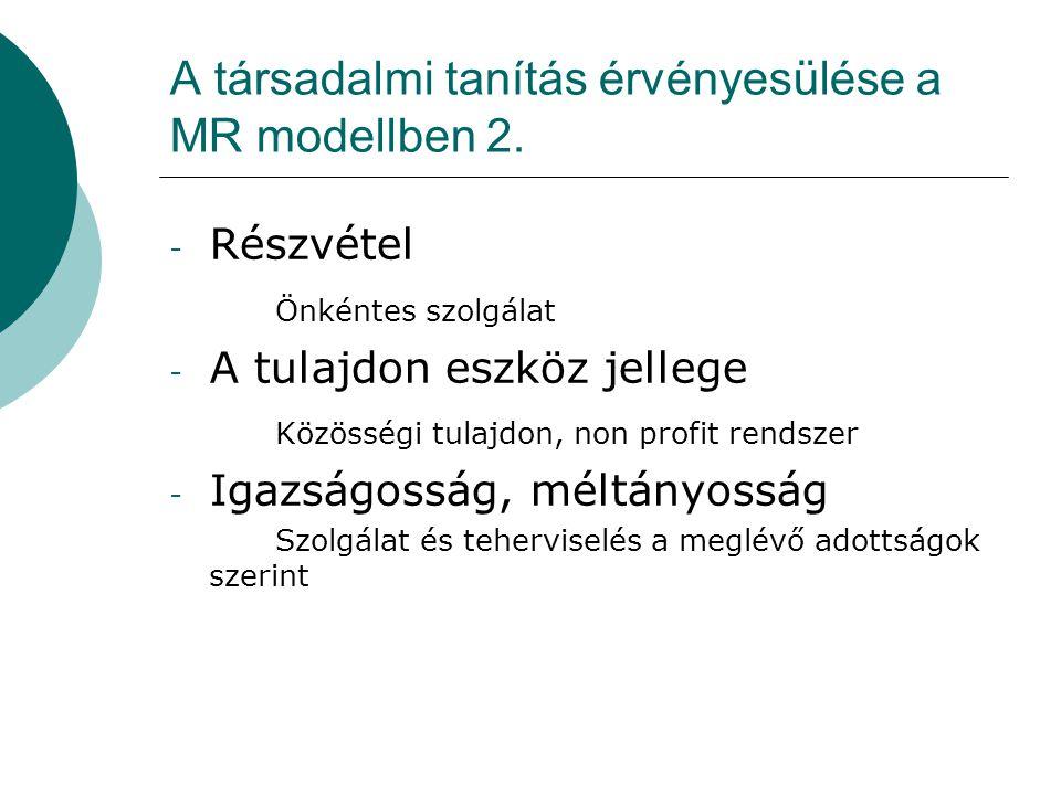 A társadalmi tanítás érvényesülése a MR modellben 2. - Részvétel Önkéntes szolgálat - A tulajdon eszköz jellege Közösségi tulajdon, non profit rendsze