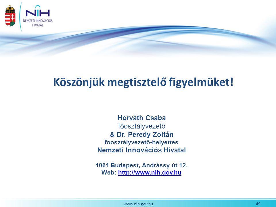 49www.nih.gov.hu Horváth Csaba főosztályvezető & Dr.