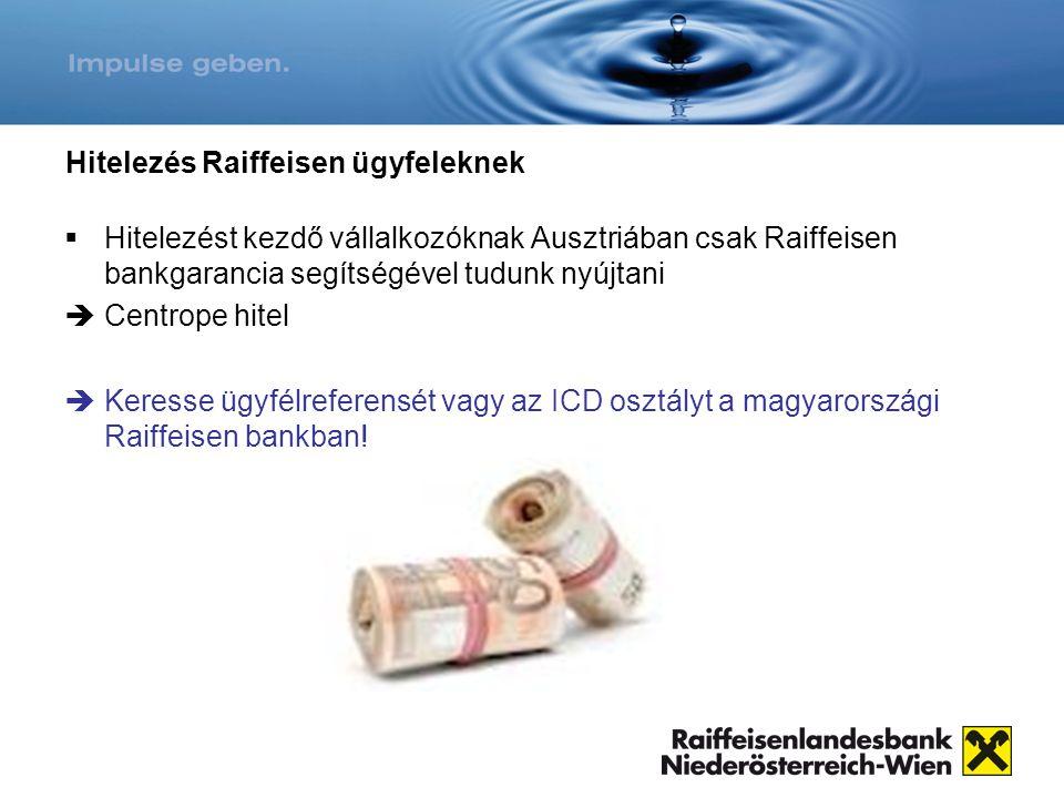 Hitelezés Raiffeisen ügyfeleknek  Hitelezést kezdő vállalkozóknak Ausztriában csak Raiffeisen bankgarancia segítségével tudunk nyújtani  Centrope hi