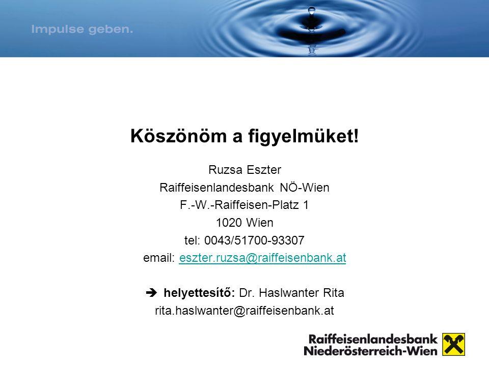 Köszönöm a figyelmüket! Ruzsa Eszter Raiffeisenlandesbank NÖ-Wien F.-W.-Raiffeisen-Platz 1 1020 Wien tel: 0043/51700-93307 email: eszter.ruzsa@raiffei