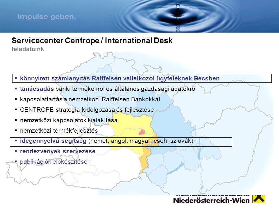 Servicecenter Centrope / International Desk feladataink  könnyített számlanyítás Raiffeisen vállalkozói ügyfeleknek Bécsben  tanácsadás banki termék