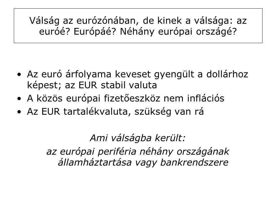 Válság az eurózónában, de kinek a válsága: az euróé? Európáé? Néhány európai országé? •Az euró árfolyama keveset gyengült a dollárhoz képest; az EUR s