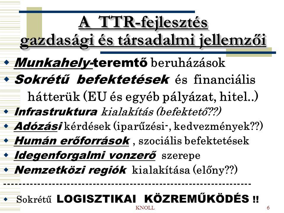 KNOLL6 A TTR-fejlesztés gazdasági és társadalmi jellemzői  Munkahely-teremtő beruházások  Sokrétű befektetések és financiális hátterük (EU és egyéb pályázat, hitel..)  Infrastruktura kialakítás (befektető??)  Adózási kérdések (iparűzési-, kedvezmények??)  Humán erőforrások, szociális befektetések  Idegenforgalmi vonzerő szerepe  Nemzetközi regiók kialakítása (előny??) -------------------------------------------------------------------  Sokrétű LOGISZTIKAI KÖZREMŰKÖDÉS !!