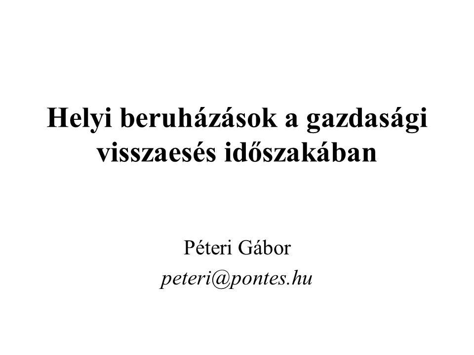 Helyi beruházások a gazdasági visszaesés időszakában Péteri Gábor peteri@pontes.hu