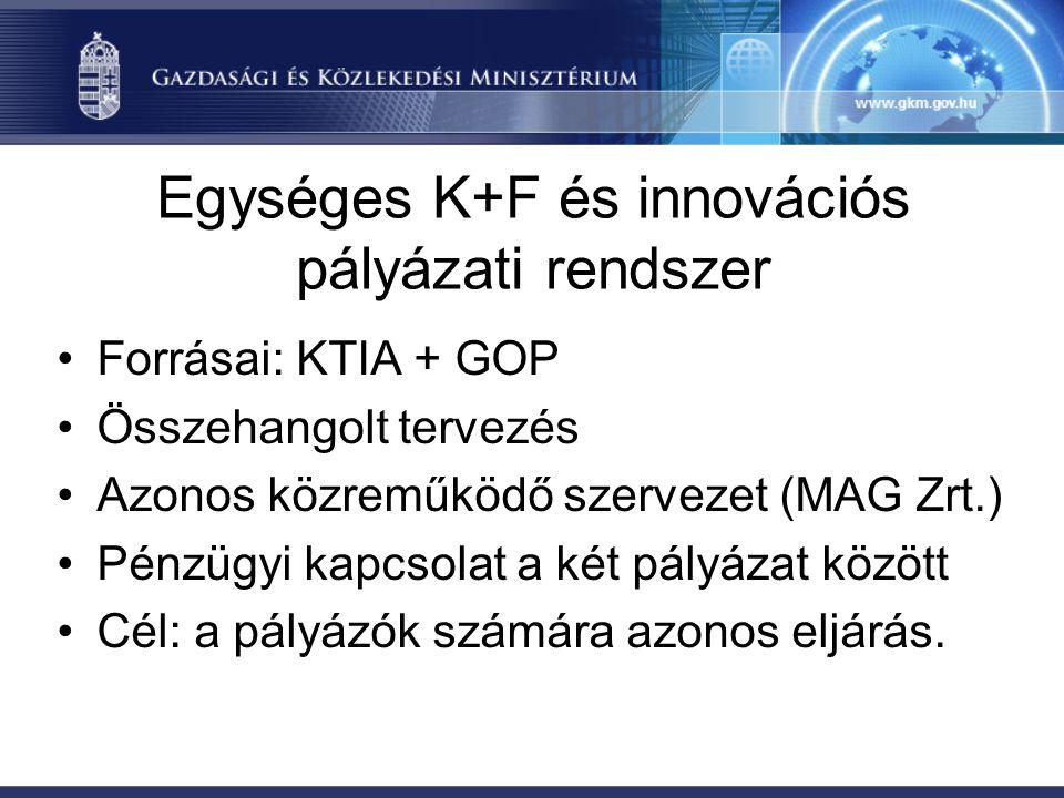 Egységes K+F és innovációs pályázati rendszer •Forrásai: KTIA + GOP •Összehangolt tervezés •Azonos közreműködő szervezet (MAG Zrt.) •Pénzügyi kapcsolat a két pályázat között •Cél: a pályázók számára azonos eljárás.